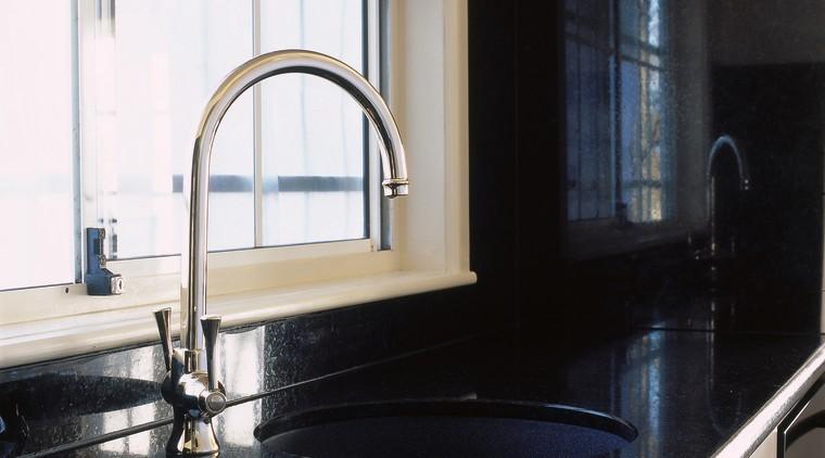 Kitchen with black granite benchtop and splashback, white countertop, glass, kitchen, room, sink, tap, window, white, black