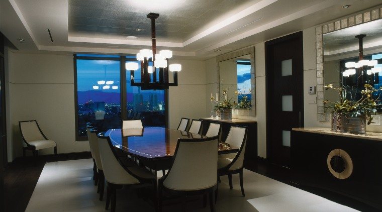 View of this dining area ceiling, interior design, office, gray, black