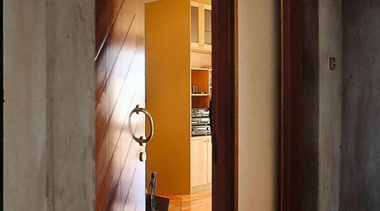 Front door featuring diagonal cedar panelling and glass architecture, door, home, house, interior design, wall, window, wood, wood stain, black, brown