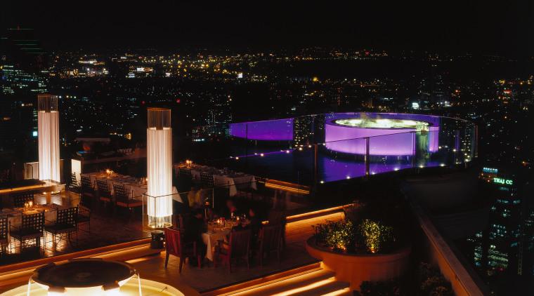 View of the bar architecture, city, cityscape, light, lighting, metropolis, metropolitan area, night, reflection, black
