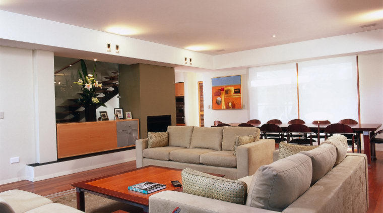 A view of living and dining area with ceiling, interior design, living room, real estate, room, gray