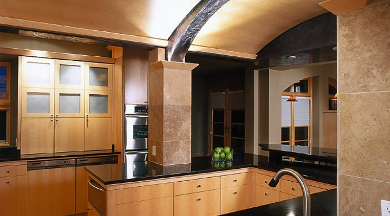 Low maple barrel vault ceiling. Kitchen cupboards, drawers cabinetry, ceiling, countertop, cuisine classique, interior design, kitchen, real estate, brown