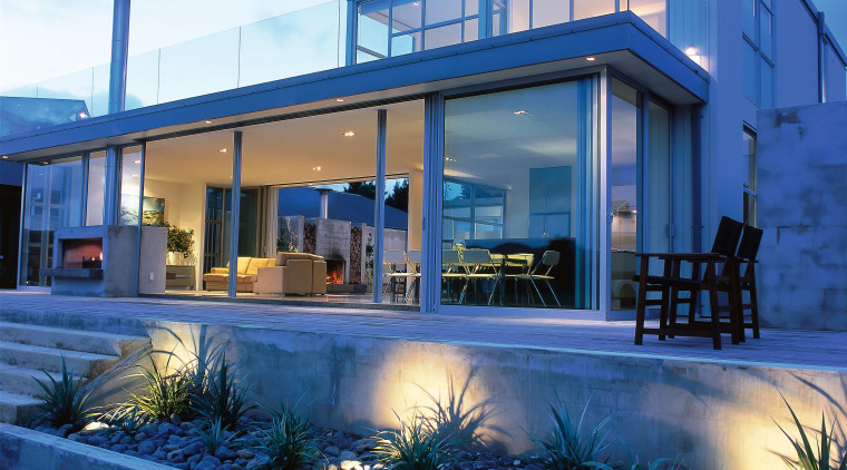Exterior view of this contemporary home architecture, elevation, estate, facade, home, house, property, real estate, residential area, villa, window, blue