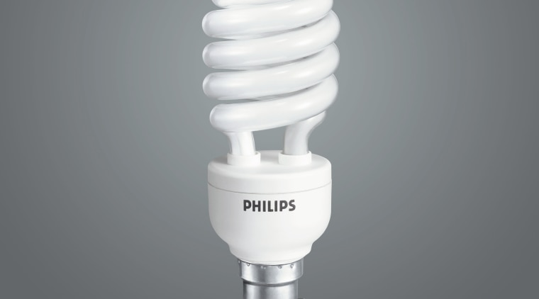 Close up view of the Phillips Tornado light product, product design, gray