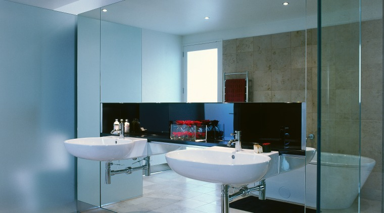 View of the bathroom's basins architecture, bathroom, ceiling, floor, flooring, glass, interior design, room, sink, gray, teal