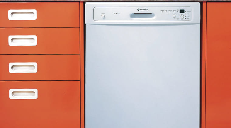 A photograph of a white Simpsons dishwasher. The chest of drawers, drawer, furniture, home appliance, kitchen appliance, major appliance, orange, product, product design, white, red