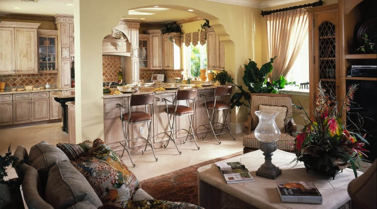 Kitchen with a relaxed Mediterranean feel. This kitchen home, interior design, living room, room, black