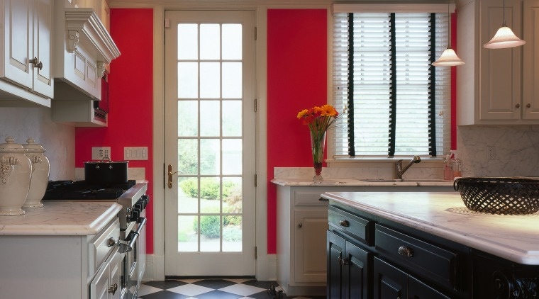Kitchen with bold color scheme. Hot pink and cabinetry, ceiling, countertop, cuisine classique, daylighting, floor, flooring, hardwood, home, interior design, kitchen, real estate, room, tile, window, gray