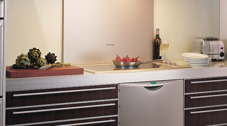 An Iridium rangehood and splashback. There are small cabinetry, countertop, cuisine classique, furniture, home appliance, interior design, kitchen, kitchen appliance, kitchen stove, major appliance, product design, gray
