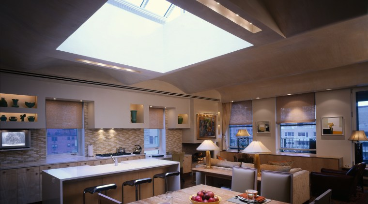 Kitchen, living and dining areas in one inclusive ceiling, countertop, daylighting, interior design, kitchen, black