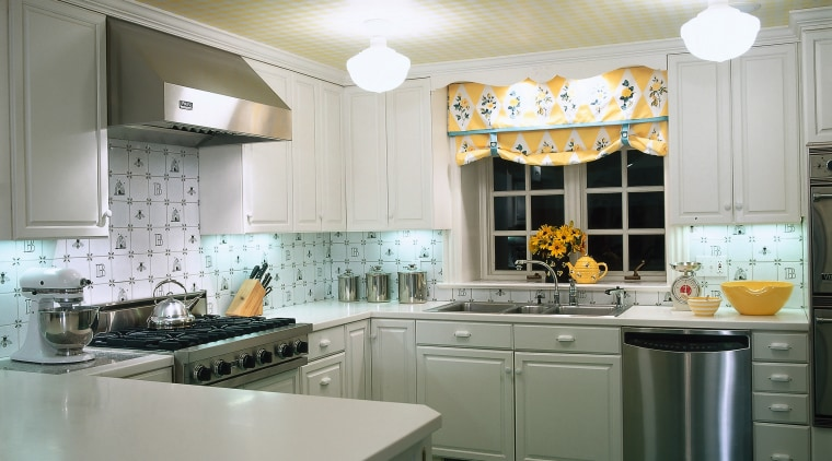 view of kitchen  showing white cabinetry turqouise cabinetry, ceiling, countertop, cuisine classique, home, interior design, kitchen, real estate, room, window, gray