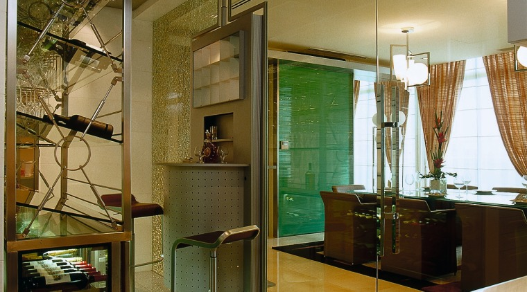 small bar area where glass doors  lead architecture, ceiling, interior design, lobby, brown
