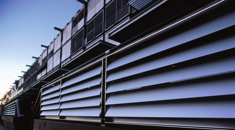 close up view of alluminium louvres architecture, building, daylighting, facade, line, reflection, sky, steel, structure, black, blue