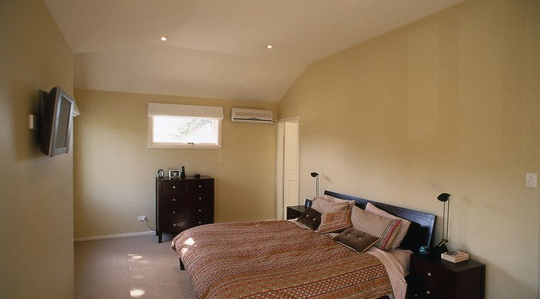 view of bedroom bedroom, ceiling, daylighting, floor, furniture, home, house, interior design, property, real estate, room, wall, wood, brown