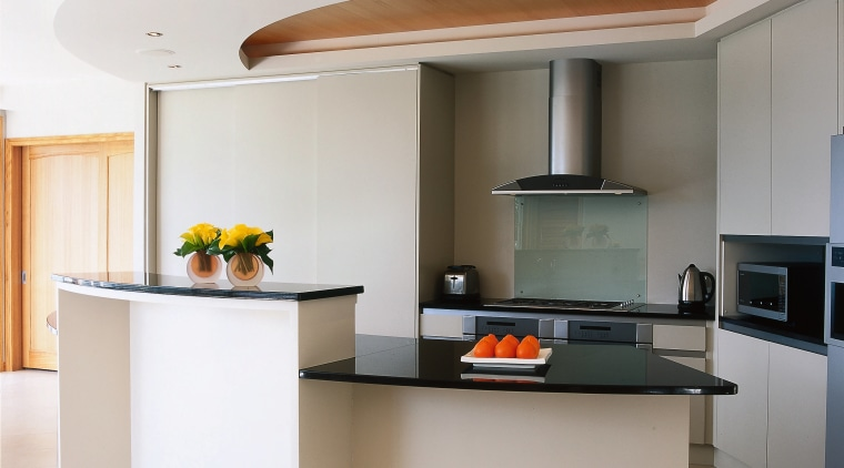 Overall view of the kitchen area cabinetry, countertop, furniture, interior design, kitchen, gray