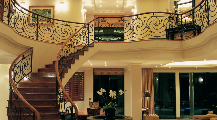 View of the stairway & lighting ceiling, estate, floor, flooring, interior design, lobby, wall, brown, orange