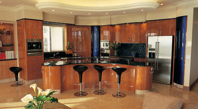 Overview of the kitchen cabinetry, countertop, interior design, kitchen, living room, real estate, room, brown, orange