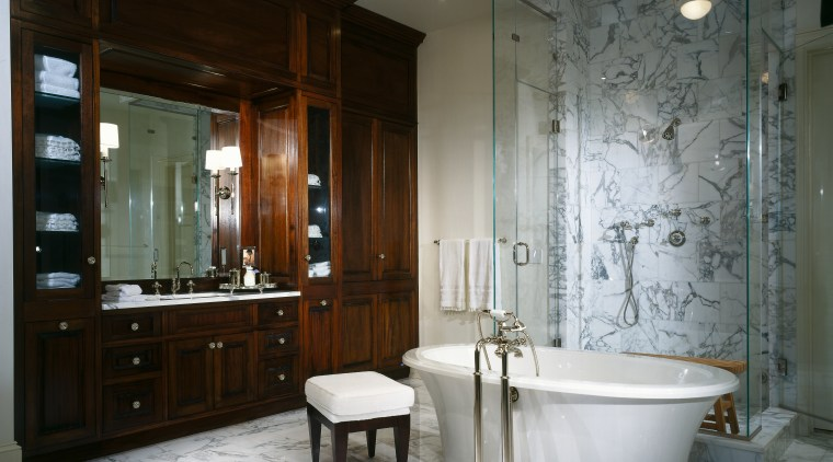 View of this bathroom bathroom, estate, home, interior design, room, gray, black