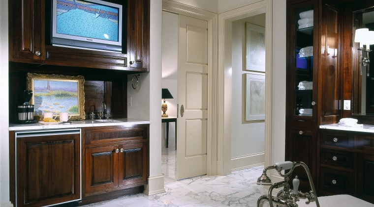 Close view of the bathroom cabinetry, countertop, interior design, kitchen, room, gray, black