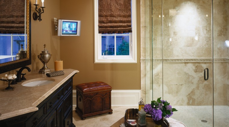 View of the bathroom bathroom, ceiling, estate, floor, flooring, home, interior design, living room, room, wall, brown, gray