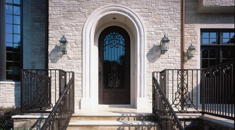 View of the entrance way architecture, baluster, brick, building, door, estate, facade, handrail, home, house, iron, porch, real estate, residential area, stairs, structure, walkway, wall, window, black