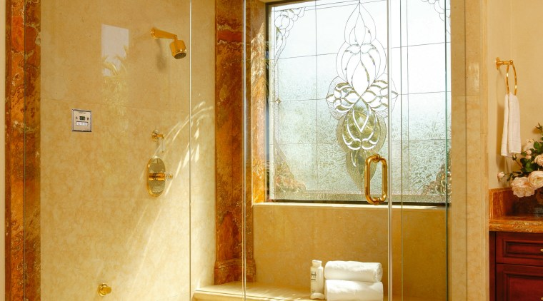 View of the shower unit bathroom, floor, glass, home, interior design, plumbing fixture, room, wall, orange