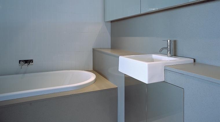 view of bathroom bathroom, bathroom accessory, bathroom sink, floor, interior design, plumbing fixture, product design, property, room, sink, tap, tile, toilet seat, gray