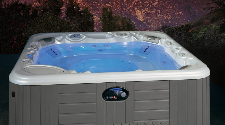 Spa pool with grey coloured exterior and wooden hot tub, jacuzzi, swimming pool, water, black