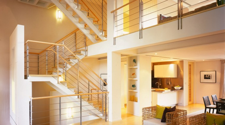 View of the main living area with wooden apartment, architecture, ceiling, daylighting, handrail, home, house, interior design, living room, lobby, loft, real estate, stairs, window, brown, orange