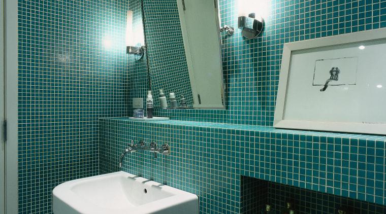 Interior view of bathroom architecture, bathroom, daylighting, glass, interior design, plumbing fixture, product, public toilet, room, tile, toilet, teal