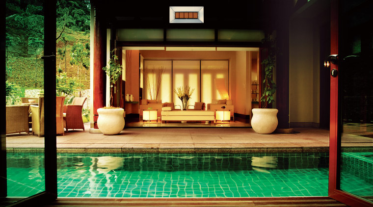 Green tiled pool in courtyard, folding doors, lounge architecture, home, house, interior design, lighting, property, black