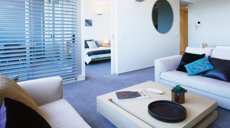 Interior view of an apartments lounge area interior design, living room, real estate, room, suite, white