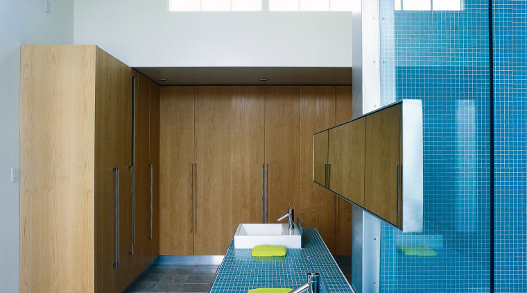 View of this bathroom architecture, ceiling, daylighting, house, interior design, gray, teal