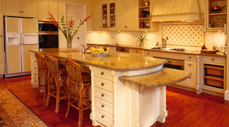 View of the kitchen area cabinetry, countertop, cuisine classique, floor, flooring, furniture, hardwood, interior design, kitchen, laminate flooring, room, wood, wood flooring, orange, red