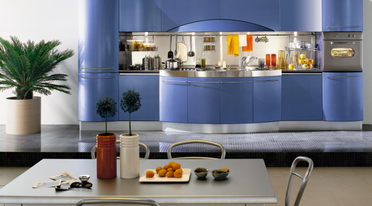 View of this modern kitchen interior design, kitchen, product, product design, table, gray