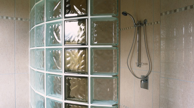 View of the shower bathroom, glass, plumbing fixture, room, shower, tile, wall, window, gray, brown