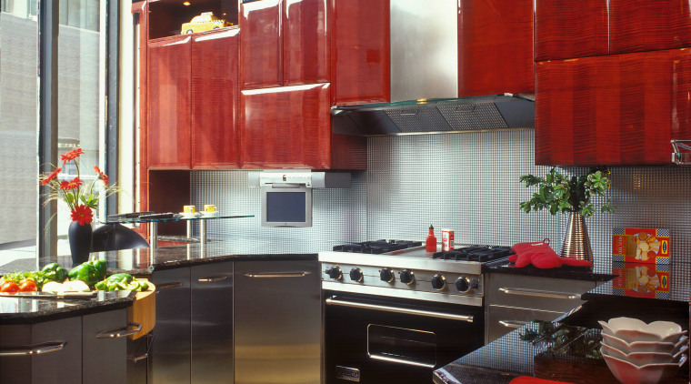 View of this kitchen cabinetry, countertop, interior design, kitchen, room, black