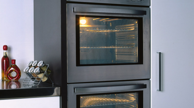 Close view of these wall oven kitchen appliances. home appliance, kitchen appliance, oven, gray