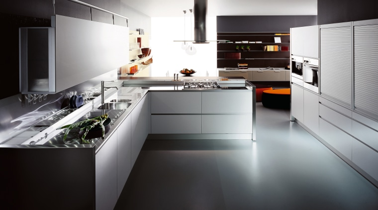 View of this contemporary kitchen countertop, cuisine classique, interior design, kitchen, product design, room, black, gray