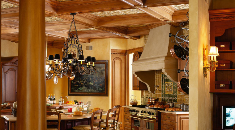 View of the kitchen area of this home beam, ceiling, dining room, interior design, kitchen, wood, brown