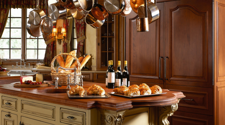 View of this traditional kitchen cabinetry, countertop, cuisine classique, interior design, kitchen, brown
