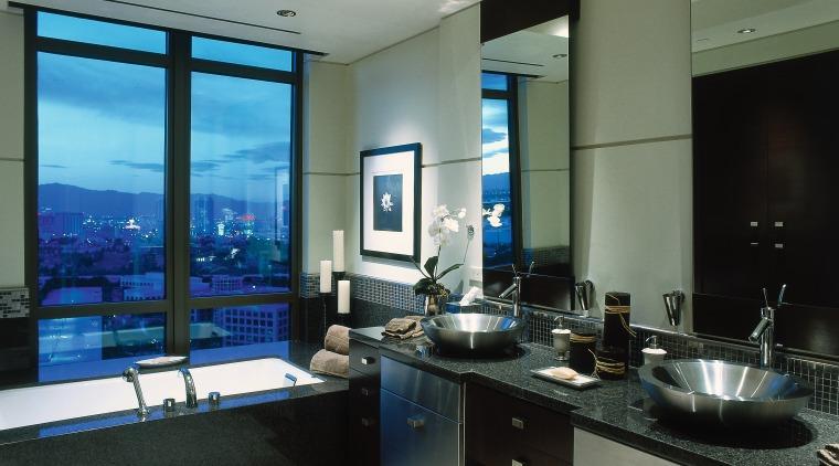 View of this modern bathroom countertop, interior design, kitchen, gray, black