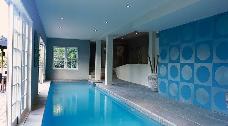 View of the pool area architecture, ceiling, daylighting, estate, home, house, interior design, leisure, leisure centre, property, real estate, swimming pool, teal, gray