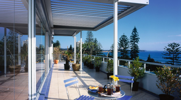 view of the vergola louvres  on this daylighting, outdoor structure, property, real estate, roof, gray