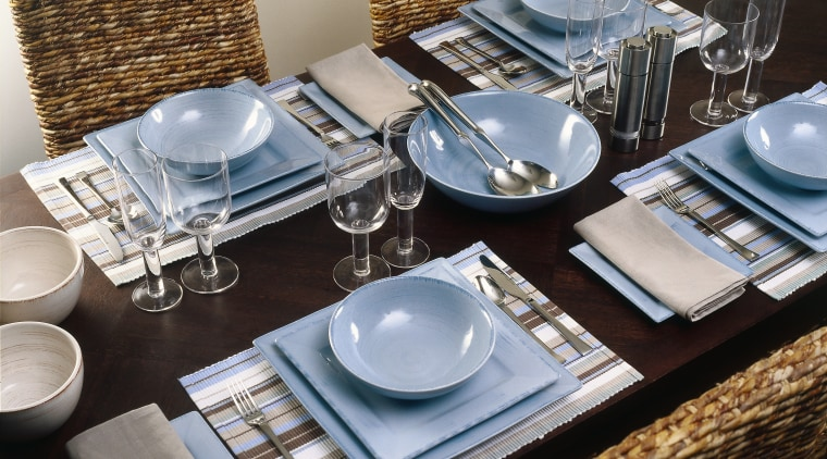 View of this dining area furniture, porcelain, table, tableware, gray, black