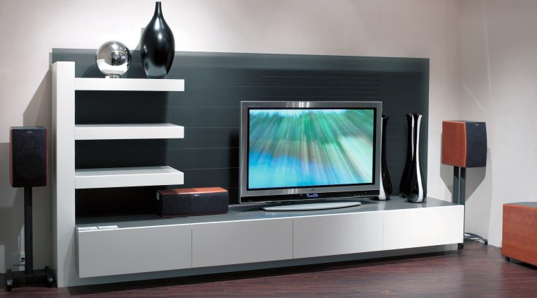 View of entertainment display device, electronics, flat panel display, furniture, home cinema, living room, multimedia, product design, gray, black