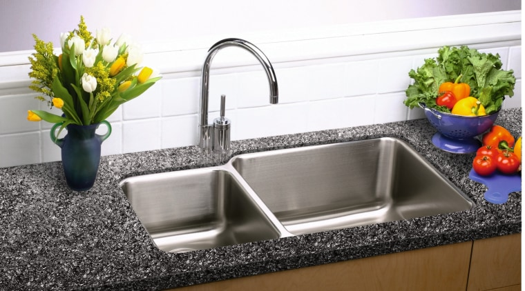 View of this kitchen sink & faucet bathroom sink, countertop, kitchen, plumbing fixture, sink, tap, white
