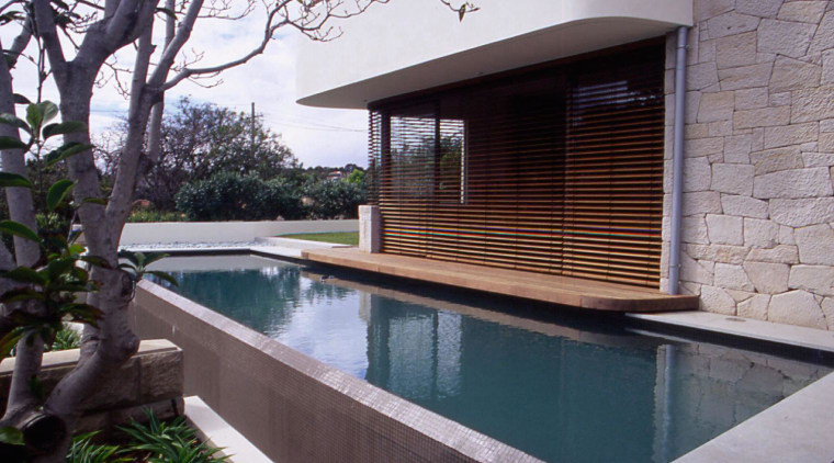 exterior of outdoor living area by poolside architecture, backyard, home, house, outdoor structure, property, real estate, swimming pool, gray, black