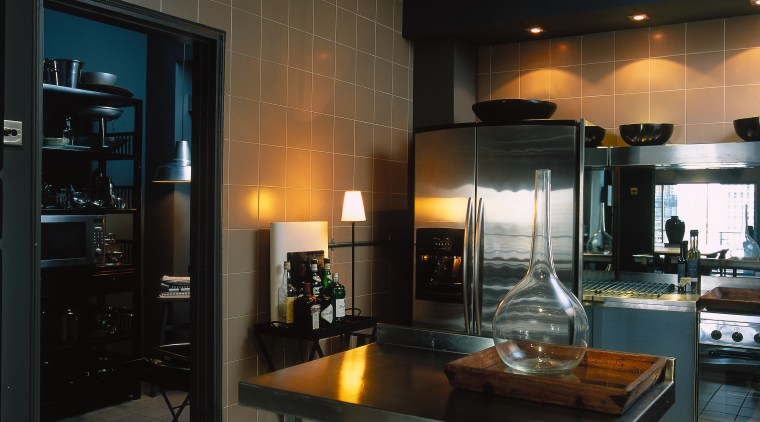 Kitchen with ceramic tiles on walls and floor, ceiling, countertop, interior design, kitchen, lighting, black