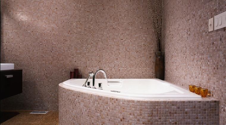 View of this modern bathroom bathroom, bathtub, ceramic, floor, flooring, interior design, plumbing fixture, room, tile, wall, red, gray